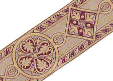 "2 3/8"" Jacquard Trim Medieval Style Burgundy Taupe Gold Vestment Sewing 3 Yards"