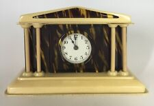Lux Courthouse With Columns - Tortoise Shell With Tan Trim Celluloid Clock 1935