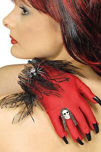 Handschuhe Teufelskrallen rot-schwarz Totenkopf Spinne Damen