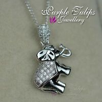 18CT White Gold Plated Cute Elephant Necklace Made With SWAROVSKI Crystals