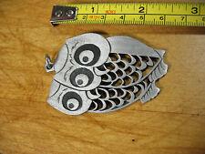 VINTAGE  DOUBLE  OWL PENDANT PEWTER   -- EXCELLENT  CONDITION --