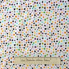 Halloween Fabric - Too Cute to Spook Multi Stars White - Riley Blake Cotton YARD