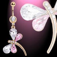 NEU Bauchnabelpiercing  Libelle Schmetterling rosa und klare Kristalle vergoldet