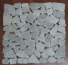 NEW 1m2 Natural Stone Mosaic Crazy Flat Tiles Cream (11 pcs @ 30x30 cm) in a box