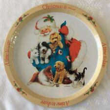 Vtg Metal Christmas Serving Tray, Santa With Pets, Signed Giordano, 13� Diameter