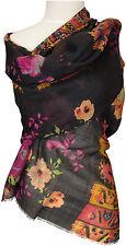Schal Wolle Seide Schwarz Pink Blumen ethnische Muster stole écharpe foulard
