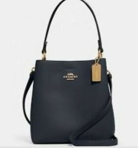 Coach Leather Town Bucket - Navy - Brand New