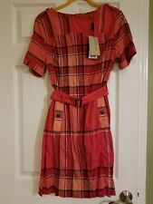 0539c28cbc5 BNWT Burberry Brit Pomegranate Pink Check Plaid Belted Dress US 12