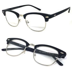 80's Vintage Horned Rim Half Frame Clear Lens Reading Glasses - RE77