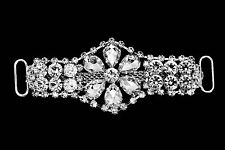 Diamante Motif Applique Rhinestone Sew on Wedding Silver Crystal Patch A10