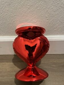 BATH & BODY WORKS CHROME RED LARGE 3 WICK CANDLE HOLDER HEART VALENTINES DAY NEW