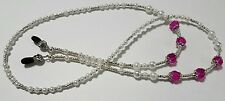 Hot Pink Crystal Beaded Eyeglass Chain Classic White Pearl