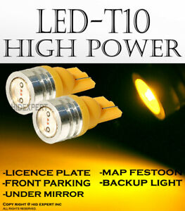 2 pairs T10 High Power Yellow LED Direct Replace Front Parking Light Lamps V499