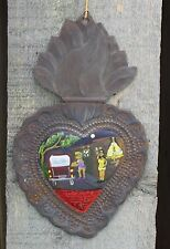 Tin Milagro Ex Voto Painting Working Girls Give Thanks Hand Made Mexico Folk Art