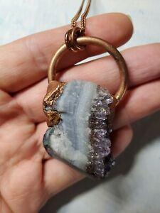 Handmade Artisan rainbow amethyst cluster  Electroformed crystal Necklace
