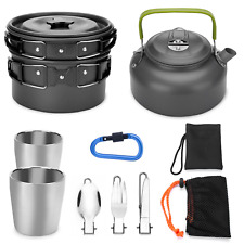 Odoland 10pcs Camping Cookware Mess Kit, Lightweight Pot Pan Kettle with 2 Cups,