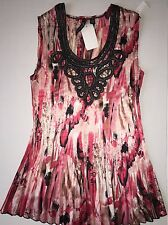 NEW Milano Small S Wrinkle Crinkle Blouse Top Sleeveless Tank NWT $58 Pink Black