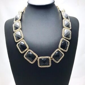 Ombre Necklace Black To Light Grey Facetted Beads With Rhinestone Accents
