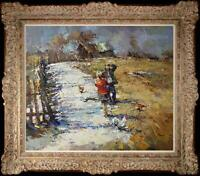 Hand-painted Original Oil painting art knife Impressionism landscape girl