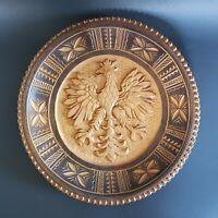 Polish Hand Carved Eagle Wooden Wall Plate Vintage Decorative Folk Art