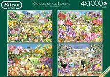NUOVO! Falcon De Luxe Giardini di tutte le stagioni 4 x 1000 Pezzi Puzzle Nostalgico Set