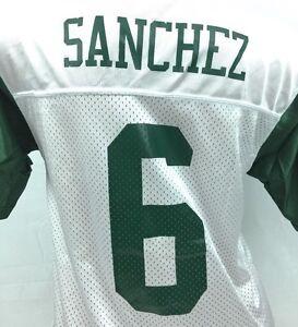 New York Jets Youth Jersey Mark Sanchez #6 Reebok NFL Football White Sz L 14-16