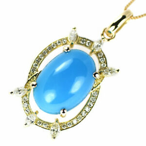 K18YG Turquoise Diamond Pendant Necklace D0.448ct - Auth SELBY_JAPAN