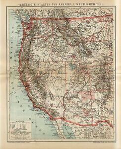1897 USA AMERICA WEST COAST STATES CALIFORNIA OREGON NEVADA IDACHO Antique Map