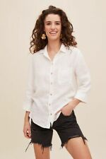 New Anthropologie Femmy 100% Linen Top Shirt, White, UK 8, RRP £85