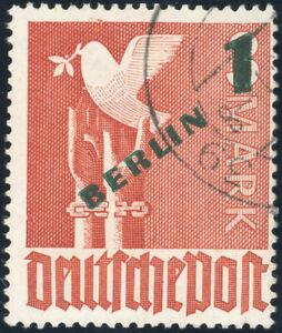 BERLIN 1949, MiNr. 67 II, seltener PF, gestempelt, Attest Schlegel, Mi. -,-