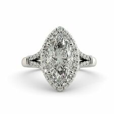 2.00 dwt Marquise Moissanite & Round Diamond Vintage Engagement Ring 18k W Gold