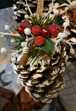 ARTIFICIAL FROSTED SNOW FRUIT SPICE CINNAMON- NATURAL PINE CONE-CHRISTMAS DECOR