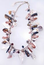 Vintage Baroque Pearl Cluster Necklace Mother of Pearl Shell Handmade Gold Wire