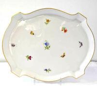 Schönes Porzellan Beistelltablett  Blumendekor von Höchst um 1970
