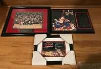 LOT OF 3 MICHAEL JORDAN CHICAGO BULLS FRAMED PHOTOS ~  LAST FINAL SHOT, STATS...