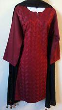 Pakistani 3PC Shalwar Kameez Cotton Linen Embroidery Red/Black Women Size M NEW