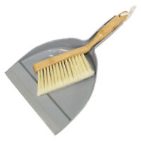 Addis Dustpan and Brush Set Bamboo Wooden Handle Home Garden Cleaning Sweeping