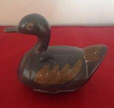 Vintage Pewter Duck w/ Brass Trinket Box