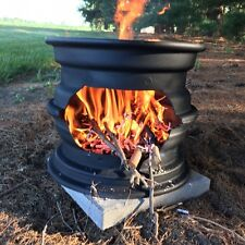 "Small 12"" Tall Campfire Stove Fire Pit from Recyled Car Wheels FREE Shipping"