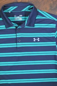 Under Armour Performance Polo Shirt Blue Green Stripe Men's Large L