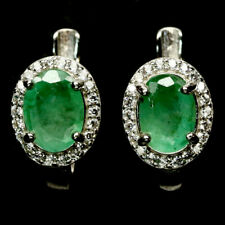 NATURAL 6 X 8 mm. GREEN EMERALD & WHITE CZ 925 STERLING SILVER EARRINGS