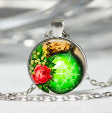 Green Christmas Ball Tibet silver Dome Glass Cabochon Necklace chain Pendant