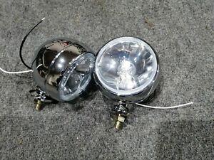 Chrome-plated metal fog lamp 10cm 4in clear glass. LADA Moskvich Fiat etc. 1pc.!