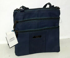 Navy Lorenz Leather Small Twin Section Bag