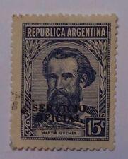 ARGENTINA SCOTT 436-1942 15C-MARTIN GUEMES-LIGHT GRAY/BLUE-SERVICIO OFICIAL-USED