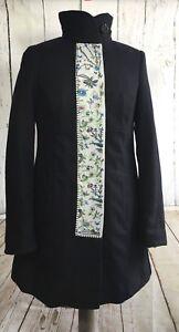 Coat Noa Noa Keystone RRP: £169 XS  UK 8/10 black cotton linen winter embroidery