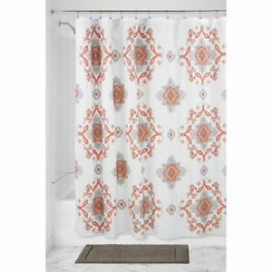 "mDesign Damask Print - Easy Care Fabric Shower Curtain - 72"" x 72"" - Coral/Taupe"