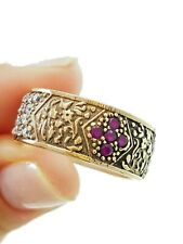 HANDMADE FASHION JEWELRY RUBY BAND RING STERLING 925 SILVER R1724