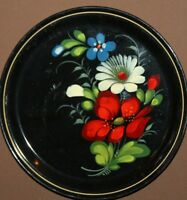 Vintage Russian hand painted metal tole floral plate