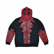Men's Marvel Deadpool Full Zip Hooded Hoodie Sweatshirt Costume Black 2X Large